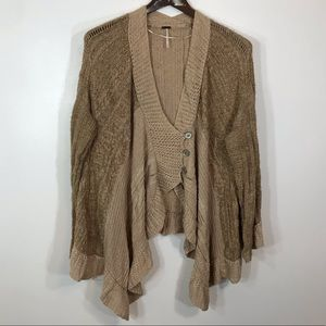 Free People cable knit Pancho Cardigan